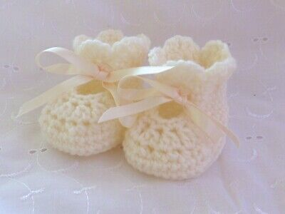 Newborn Cream Hand Crochet Knitted Shoes Bootees Booties Baby Gift Reborn • 4.99£