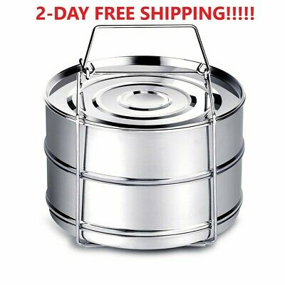 $ CDN29.01 • Buy Stackable Stainless Steel Steamer Insert Pans For Instant Pot 5/6/8Qt 2 DAY SHIP
