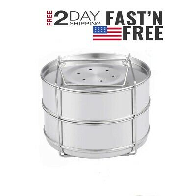 $ CDN30.14 • Buy Stackable Stainless Steel Steamer Insert Pans For Instant Pot 5/6/8Qt 2 DAY SHIP