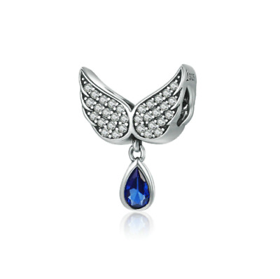 AU26.99 • Buy SOLID Sterling Silver Blue CZ Teardrop Angel Wings Charm By Pandora's Wish