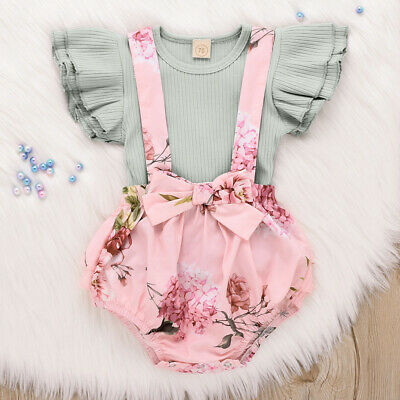 Newborn Baby Girls Clothes Ruffle Romper Tops Jumpsuit Shorts Pants Outfit Set • 8.19£