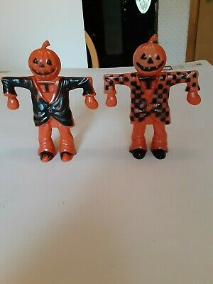 $ CDN188.81 • Buy 2 Old Vintage Halloween Plastic Candy Containers Holders Scarecrows Rosbro 1960s