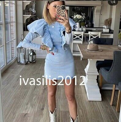 $52.89 • Buy Zara New Woman Short Frilled Denim Dress Ruffle Light Blue Xs-xxl  8527/003