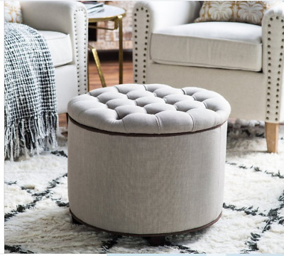 $99.49 • Buy Gray Round Storage Ottoman Tufted Seat Living Room Organizer Beige Stool Modern