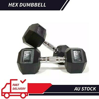 AU170.10 • Buy 12.5KG-25KG Rubber Iron Hex Dumbbell Pair Fitness Gym Strength Weight Training