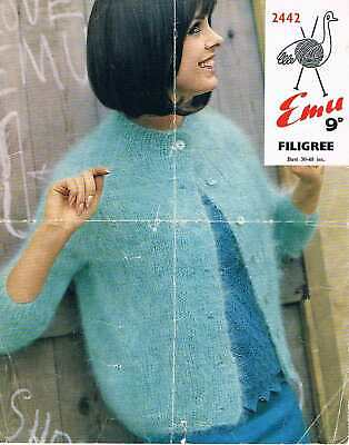 Vintage Ladies Cardigan Knitting Pattern 30-40  Bust, Mohair, A4 Copy • 1.99£