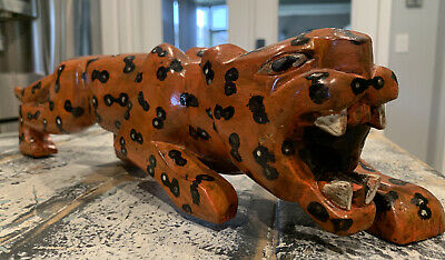 """$15 • Buy Hand Carved & Painted Wooden Animal Tiger Figure Toy Statue 18"""" Length"""