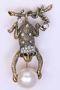 Hanging Monkey Brooch Quirky Dangling Holding Faux Pearl Cute Gold Tone+Gift Bag • 4.35£