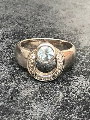 $ CDN35.07 • Buy Vintage Silver Ring With Aquamarine And Zircon Size L