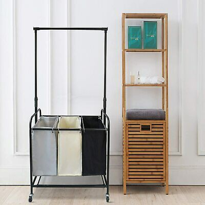 $59.99 • Buy Rolling Laundry Center Basket Cart With Removable Cloth Garment Rack (US Stock)