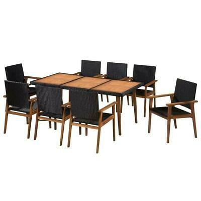 Outdoor Dining Set 9 Pieces Black Brown Poly Rattan Furniture Patio Garden Table • 615.39£