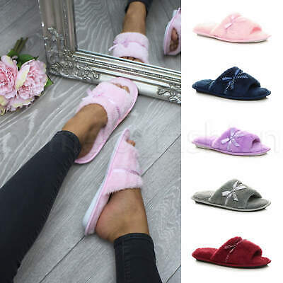 £5.99 • Buy Womens Ladies Bow Lounge Spa Peep Toe Indoor Mules Summer Slippers Sandals Size