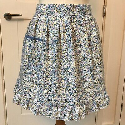 Vintage Pretty Half Apron Blue Sissy Maid Housewife Country Baking Pinny  50s • 12£
