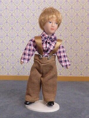 Dolls House 1:12 Scale Young Boy Victorian Edwardian Modern Check Shirt Blond • 6£