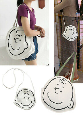 Charlie Brown Canvas Shoulder Shopper Tote Bag Gift Peanuts Snoopy 2 Sizes  • 12.99£