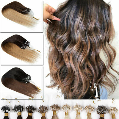 THICK 200S Russian Remy Human Hair Extensions NANO Micro Loop Ring Highlight UK • 25.75£