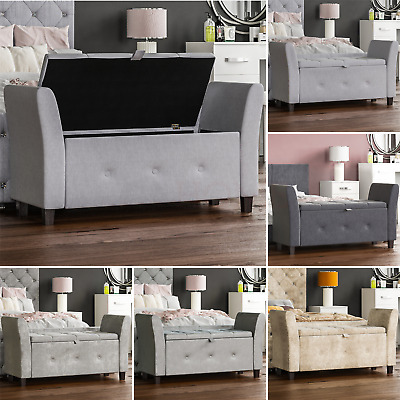 Seville Storage Ottoman Seat Stool Bench Bedroom Trunk Pouffee Toy Box Chest • 88.95£