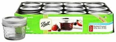 $10 • Buy Ball - Regular Mouth 4 Oz. Quilted Crystal Jelly Mason Jars Freezer Safe - 12