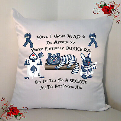 Designed White 18  Cushion - Alice In Wonderland - Mad House - Style 16 • 12.99£