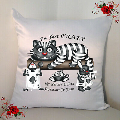 Designed White 18  Cushion - Alice In Wonderland - Mad House - Style 31 • 12.99£