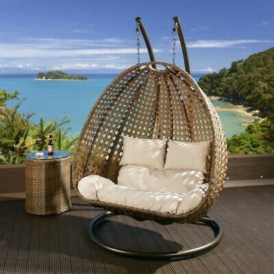 AU799 • Buy Double Seater Hanging Pod Chair - Natural Wicker With Cream Cushions