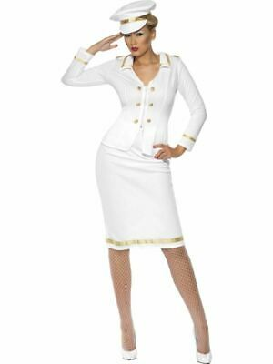 Womens Naval Officer's Mate Costume Navy Nautical Military Fancy Dress Outfit • 34.99£