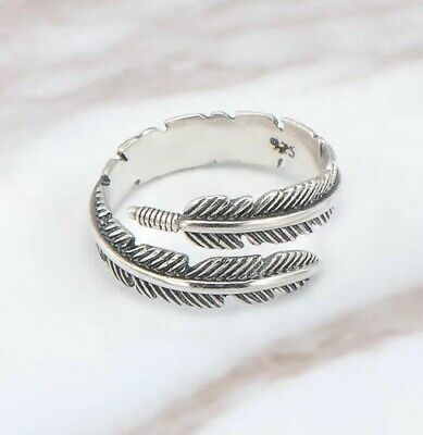 £4.99 • Buy 925 Sterling Silver Plated Leaf Feather Ring Sizeable Adjustable Wrap Men Women