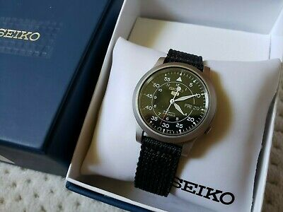 $ CDN131.30 • Buy Seiko 5 Military Automatic Black Dial Canvas Strap Watch SNK809