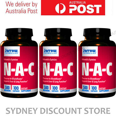 AU89.11 • Buy Jarrow NAC N-Acetyl Cysteine 100 Capsules 500mg X 3 Bottles NEW