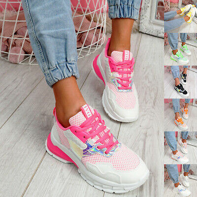 £14.99 • Buy Womens Ladies Lace Up Chunky Sole Sports Sneakers Women Trainers Shoes Size