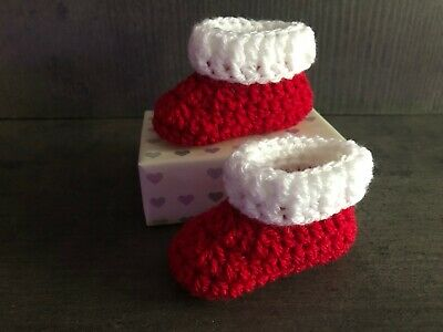 Crochet Knitted Christmas Baby Bootees Boots Booties Shoes Various Sizes • 6.95£