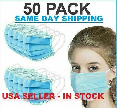 $31.89 • Buy 50 PCS Face Mask Medical Surgical Dental Disposable 3-Ply Earloop Mouth Cover