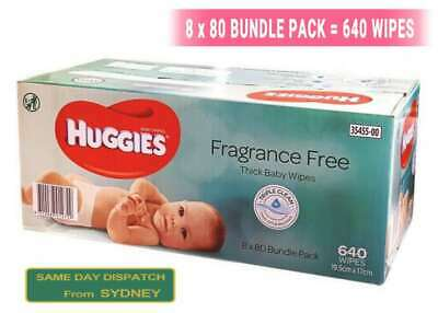AU31.99 • Buy New* 640pcs HUGGIES Thick Baby Wet Wipes Bulk Mega Pack Fragrance Free