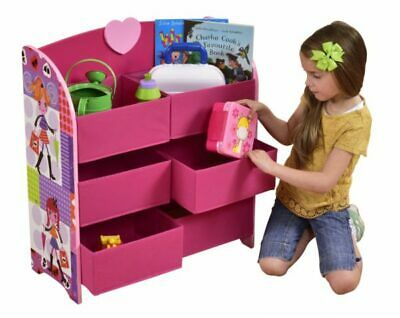 Kids Pink Fashion Girl Wooden Storage Unit With Six Fabric Baskets • 29.99£