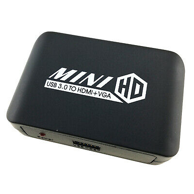 AU45.69 • Buy USB 3.0 To HDMI VGA Dual Output Adapter 1080P Video Audio Screen Duplicator Hub