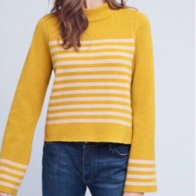 $ CDN59 • Buy Anthropologie Moth Large Mustard Yellow Structured Striped Sweater Bell Sleeves