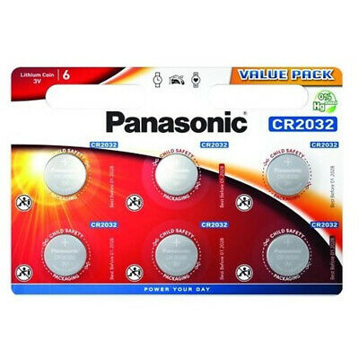 6 Panasonic CR2032 Lithium Coin Cell 2032 3V Battery Car Key Fobs Toys Remote • 2.59£