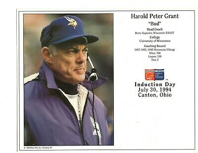 $8.99 • Buy Bud Grant - Minnesota Vikings Hall Of Fame Induction 8  X 10  Supercard