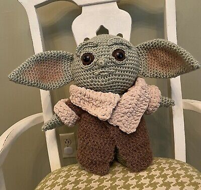 $110 • Buy The Child Crochet Amigurumi Mandalorian Plush Baby Yoda Pattern By CraftyisCool