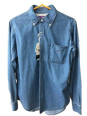 $225 • Buy The North Face Purple Label Button Up Shirt Indigo Bleach Size Small Nanamica