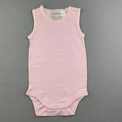 AU9.95 • Buy Girls Size 0, Marquise, Pink Soft Cotton Singletsuit / Romper, EUC