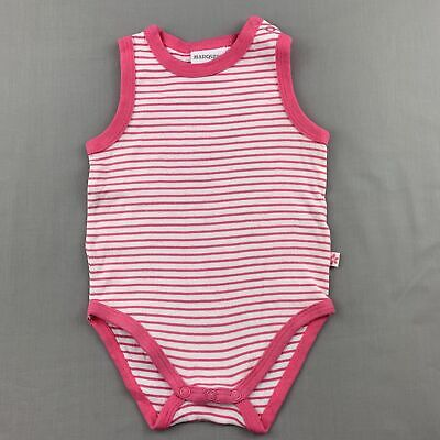 AU5.95 • Buy Girls Size 0, Marquise, Pink & White Stripe Cotton Singletsuit / Romper, GUC