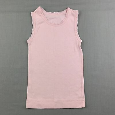 AU5.95 • Buy Girls Size 0, Marquise, Pink Soft Cotton Singlet Top, EUC