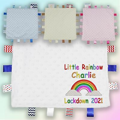 Personalised Rainbow Lockdown Embroidered Baby Dimple Taggy Gift Blanket Unisex • 9.45£