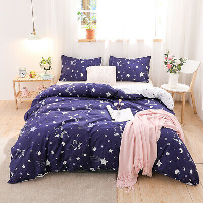 £34.18 • Buy Star Printed Reversible Bedding Set Duvet Cover Pillowcase Twin Queen King Size