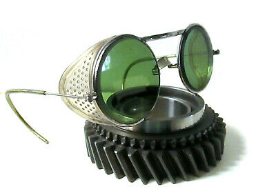 $129.99 • Buy Antique Willson Green Goggles Sunglasses Vtg Cool Steampunk Safety Glasses Specs