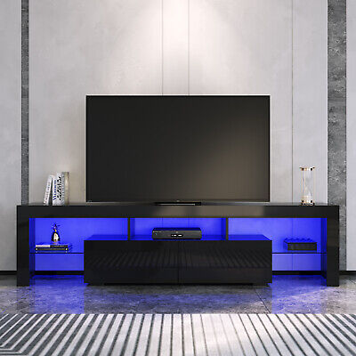 AU211 • Buy Entertainment Unit Gloss Black 180cm TV Cabinet LED Light Wood Storage Stand
