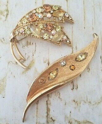 $22 • Buy TWO VINTAGE 50's SIGNED EMMONS LEAF BROOCH PIN RHINESTONES PRONG SET FALL COLORS