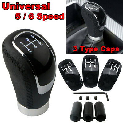 AU22.99 • Buy 5/6 Speed 3 Cap Black PU Leather Manual Car Gear Shift Lever Shifter Stick Knob