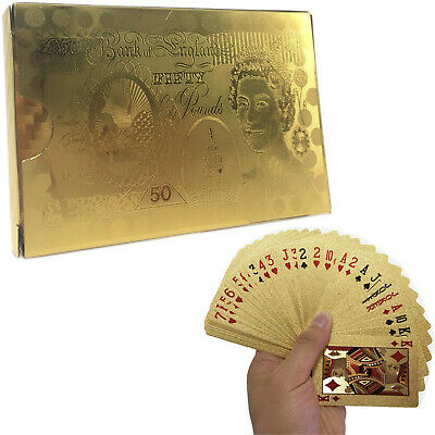 24k Gold Plated Waterproof Pound Playing Cards Game Full Poker Deck 99.9% Pure • 3.29£